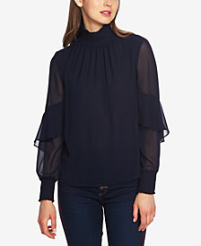 1.STATE Chiffon Mock-Neck Top