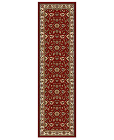 "CLOSEOUT!! KM Home Pesaro Meshed Red 2'2"" x 7'7"" Runner Area Rug"