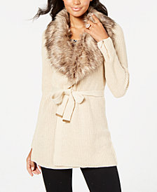 Thalia Sodi Faux-Fur Embellished Cardigan, Created for Macy's