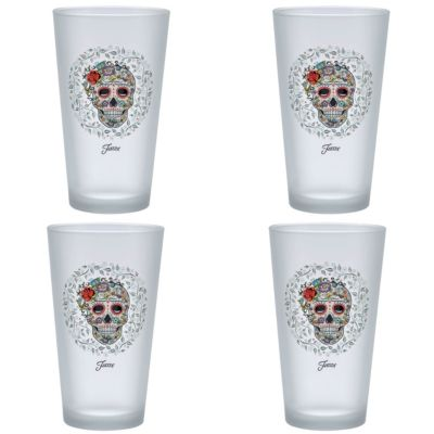 Fiesta Skull and Vine Sugar 16-Ounce Frosted Tapered Cooler Glass Set of 4