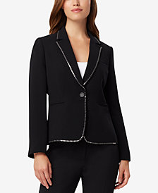 Tahari ASL Studded One-Button Blazer