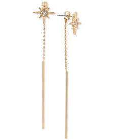BCBG Gold-Tone Crystal Star & Stick Linear Drop Earrings