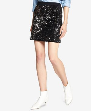 Ready For The Night Sequined Mini Skirt in Black