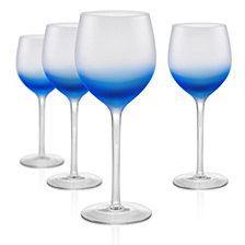 Artland Frost Shadow 17 oz. Blue Goblets, Set of 4