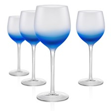 Artland Frost Shadow 17 oz. Blue Goblets, Set of 4