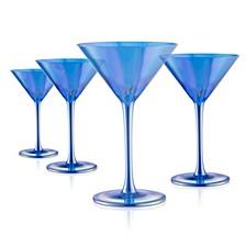 Set of 4 8oz. Luster Blue Martini Glasses