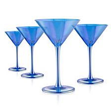 Artland Set of 4 8oz. Luster Blue Martini Glasses