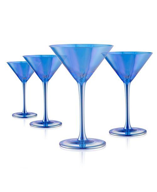 Artland Set of 4 8oz. Luster Blue Martini Glasses