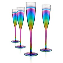Rainbow 6oz. Flute, Set of 4.