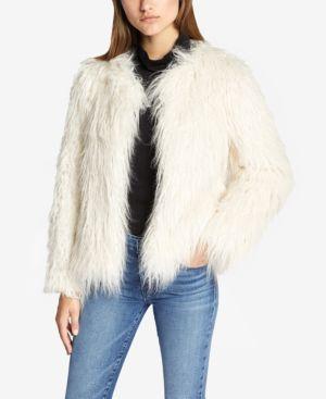 SANCTUARY Studio Fifty Fur Cropped Faux-Fur Jacket in Salt