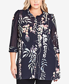 City Chic Trendy Plus Size Floral-Print Tunic