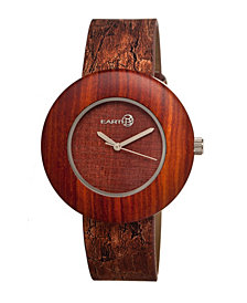Earth Wood Ligna Leather-Band Watch Red 43Mm