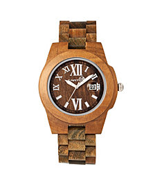 Earth Wood Heartwood Wood Bracelet Watch W/Date Olive 43Mm