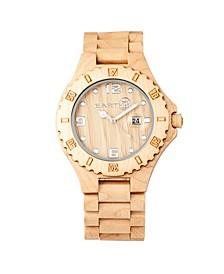 Raywood Wood Bracelet Watch W/Date Khaki 47Mm