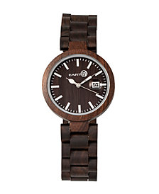 Earth Wood Stomates Wood Bracelet Watch W/Date Brown 40Mm
