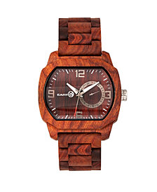 Earth Wood Scaly Wood Bracelet Watch W/Date Red 46Mm