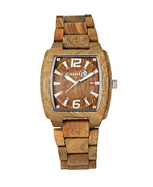 Earth Wood Sagano Wood Bracelet Watch W/Date Olive 42Mm