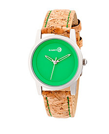 Earth Wood Canopies Leather-Band Watch Silver/Green 31Mm