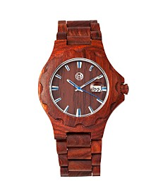 Earth Wood Gila Wood Bracelet Watch W/Magnified Date Red 43Mm