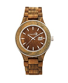 Cherokee Wood Bracelet Watch W/Magnified Date Olive 48Mm