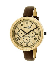 Earth Wood Brush Leather-Band Watch W/Day/Date Khaki 40Mm