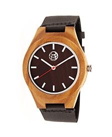 Earth Wood Aztec Leather-Band Watch Brown 43Mm