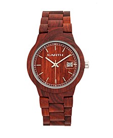 Biscayne Wood Bracelet Watch W/Date Red 38Mm
