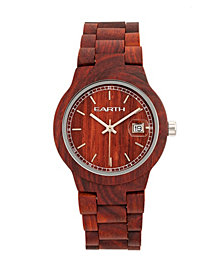 Earth Wood Biscayne Wood Bracelet Watch W/Date Red 38Mm