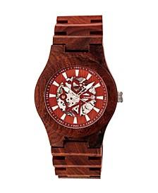 Gobi Automatic Skeleton Wood Bracelet Watch Red 45Mm