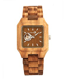 Earth Wood Black Rock Automatic Wood Bracelet Watch Olive 42Mm