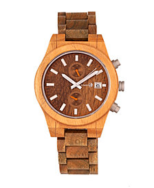Earth Wood Castillo Wood Bracelet Watch W/Date Olive 45Mm