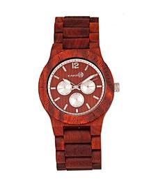 Bonsai Wood Bracelet Watch W/Day/Date Red 45Mm