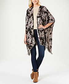 I.N.C. Metallic Floral Jacquard Ruana, Created for Macy's