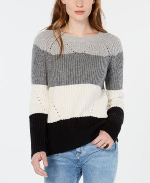Lucky Brand Colorblocked Pointelle-Knit Sweater - Natural Multi