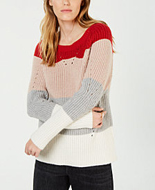 Lucky Brand Colorblocked Pointelle-Knit Sweater
