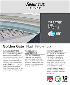 "CLOSEOUT! Beautyrest Silver Golden Gate 13.75"" Plush Pillow Top Mattress Set- Twin XL"