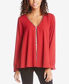 Karen Kane Sparkle-Trim Top