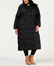 London Fog Plus Size Faux-Fur-Trim Maxi Puffer Coat