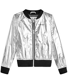 DKNY Big Girls Metallic Bomber Jacket