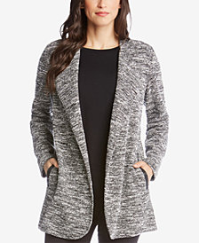 Karen Kane Open-Front Jacket With Faux-Leather Trim