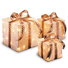 National Tree PreLit White Sisal Gift Box Assortment