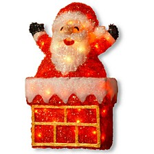 "National Tree PreLit 24"" Tinsel Santa on Chimney"