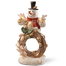 """National Tree 11"""" Lighted Holiday Snowman Décor"""