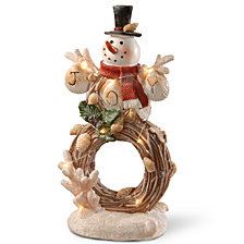 "National Tree 11"" Lighted Holiday Snowman Décor"
