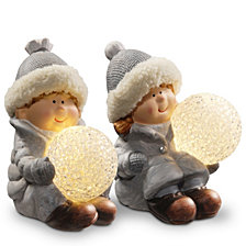 "National Tree 5.5"" Lighted Boy & Girl Décor Piece"