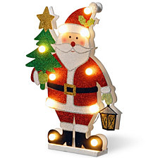 "National Tree PreLit 17"" Wooden Santa"