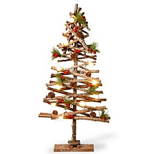 "National Tree PreLit 23"" Wood Look Holiday Tree"