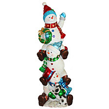 "National Tree Company 60"" Pre-Lit Stacked Snowmen Decoration"