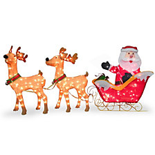 "National Tree Company 34"" Santa and Reindeer with Clear Lights"