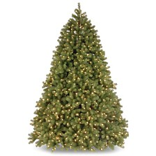 National Tree 7 .5' Feel Real Deluxe Downswept Douglas Fir Hinged Tree with 1200 Dual Color LED Lights and Power Connect